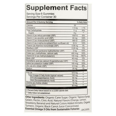 Smartypants All-in-one Multivitamin Plus Omega-3 Plus Vitamin D Gummies - 180 Pack